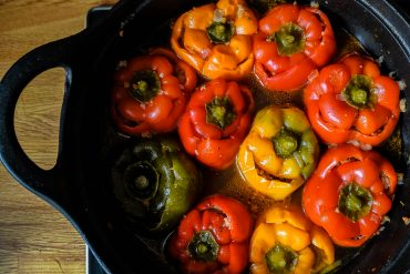 Stuffed Peppers with Ground Beef & Brown Rice