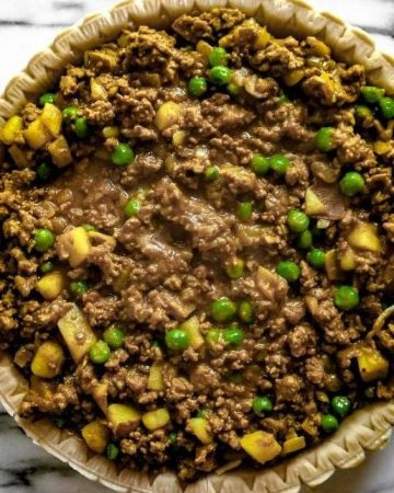 homemade samosa pie with meat filling