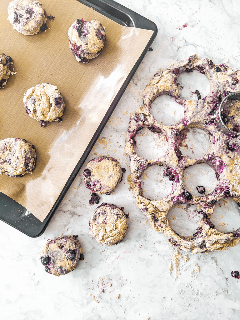 cutting out blueberry cinnamon scones